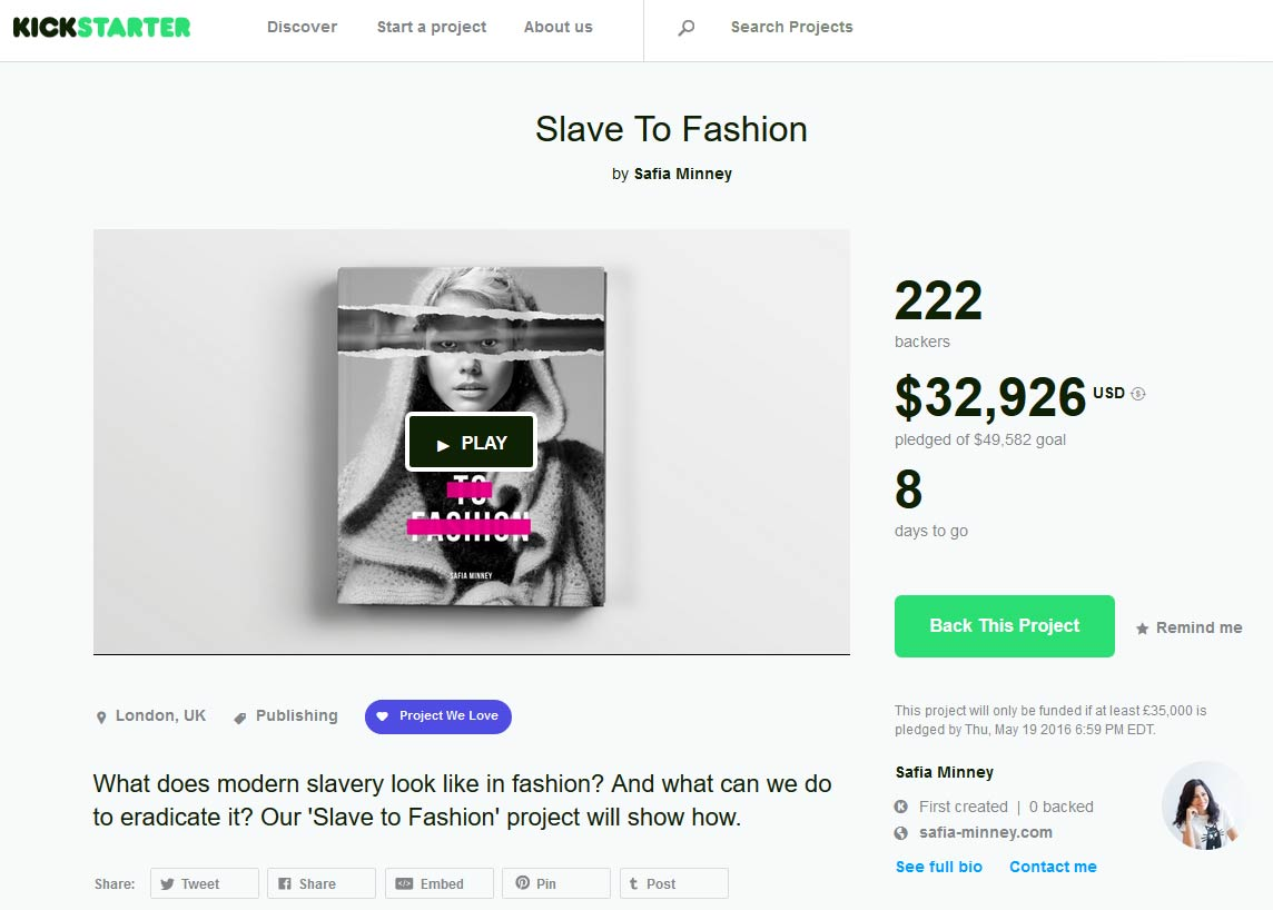 Slave to Fashion on Kickstarter