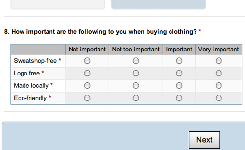 Threadless Survery Screenshot - How important is being sweatshop-free?