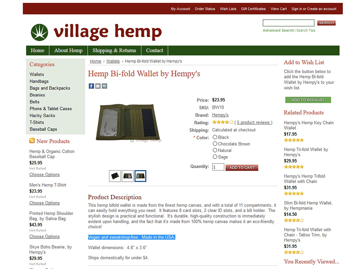 Village Hemp Vegan Sweatshop Free Wallet